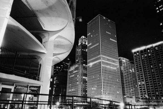 Perfectly exposed night scenes. Tri-X (Arista Premium 400) pushed to 1600, developed in HC-110B for 16.5 minutes. Chicago.