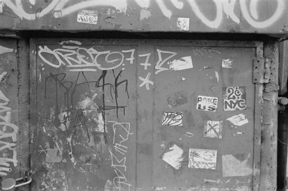 Obligatory photo of urban decay and graffiti taken with a Leica (aka why bother?) - Bergger BRF 400 Plus @ EI400, Rodinal 1+50 7 min 75F, Leica M4 & 35mm Summicron IV